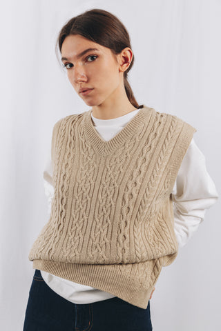 FISHERMAN VEST IN BEIGE