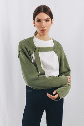 KNIT SHRUG IN GREEN