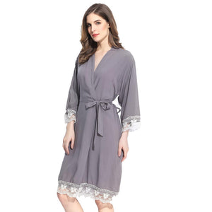 Customizable Cotton White Lace Robes (13 Colors)
