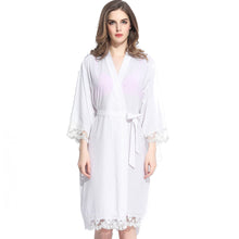 Load image into Gallery viewer, Customizable Cotton White Lace Robes (13 Colors)