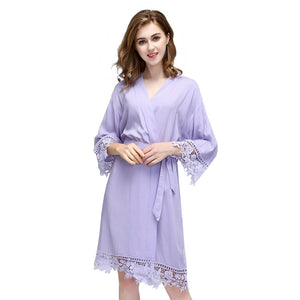 Customizable Cotton Rose Lace Bridesmaid Robes (8 Colors)