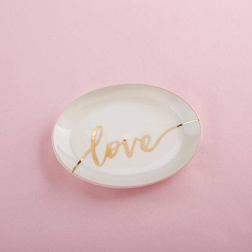Gold Foil Love Ring Dish