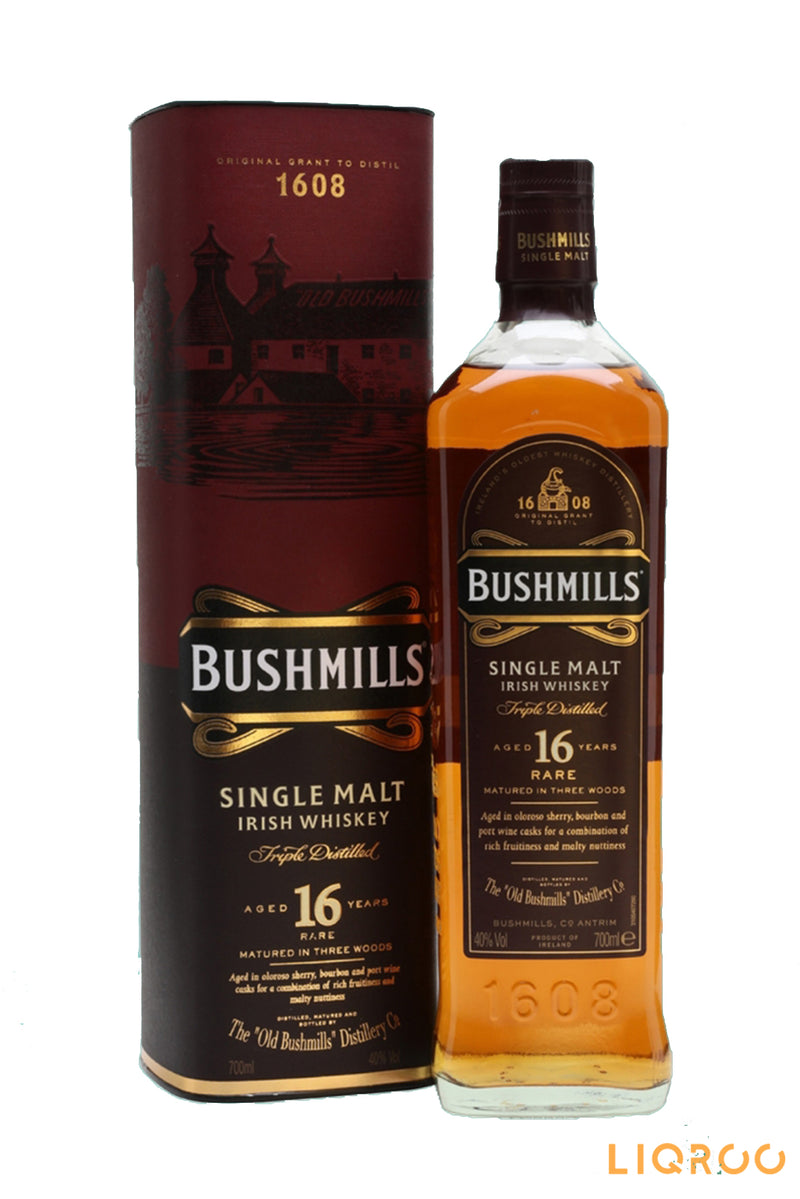 Bushmills 16 YearsOld Three Wood Single Malt Scotch Irish Whisky