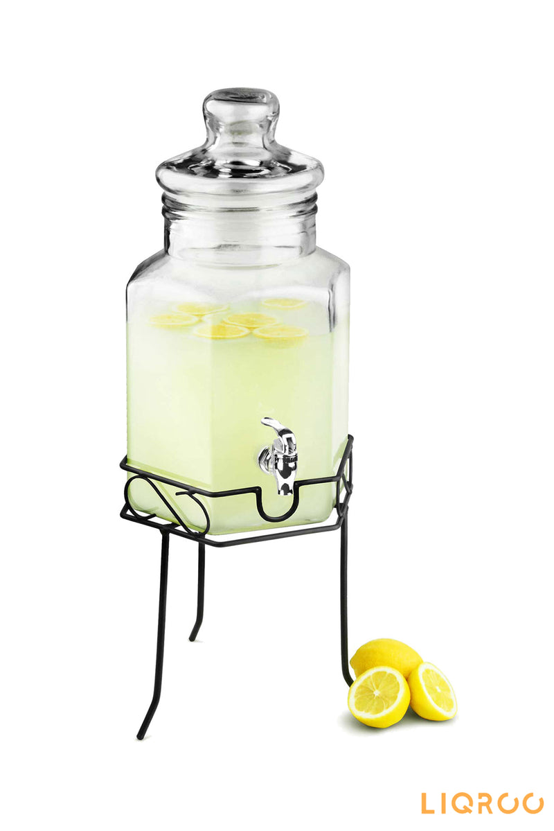 Hexagonal Glass Drinks Dispenser With Stand Bar Accessories