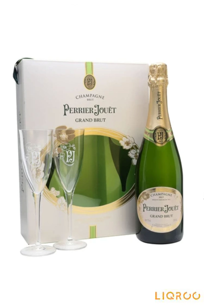Perrier Jouet Grand Brut Champagne 2 Flute
