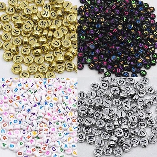 100 Pcs Spacer Acrylic Beads Cube Alphabet Letter Bracelet Jewelry Making DIY - M&Y CARE LLC-Healthcare Store