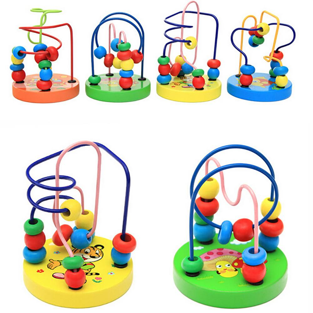 Cartoon Pattern Colorful Wooden Beads Line Maze Baby Kids Educational Toy Gift