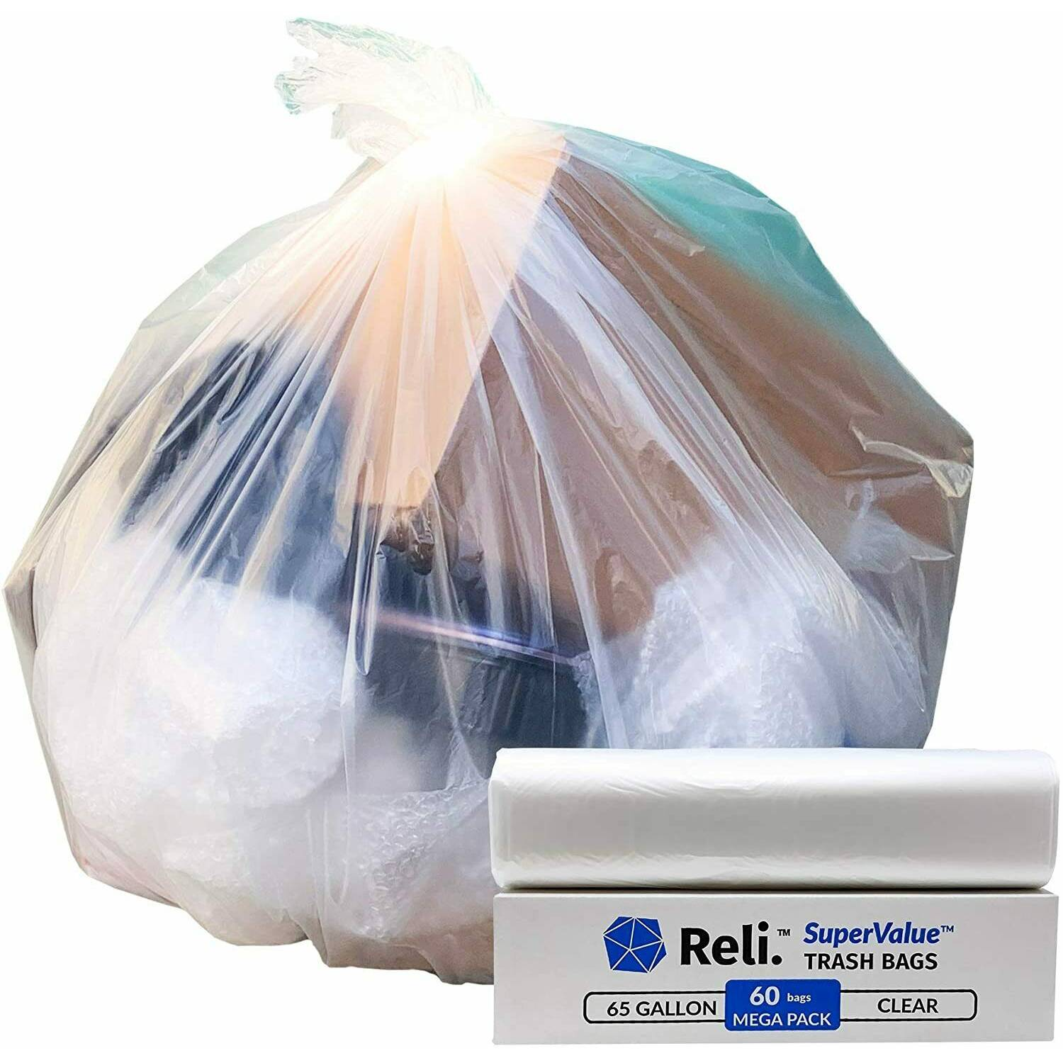 SuperValue 65 Gallon Trash Bags Clear Garbage Bags 65 Gal (60 Count)