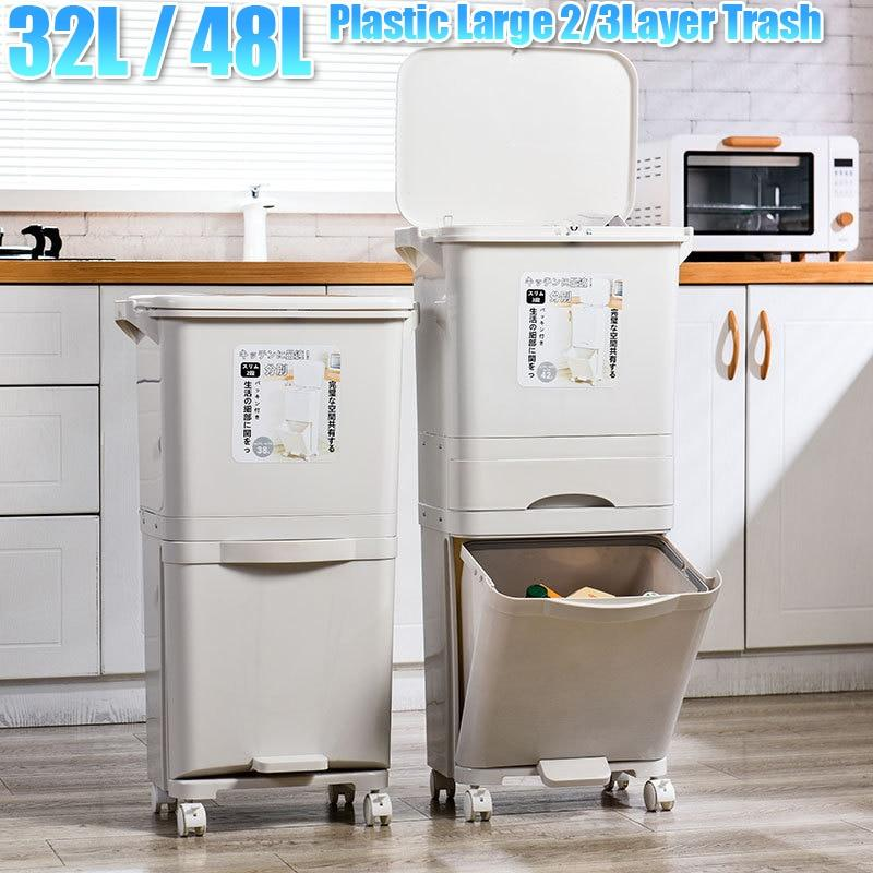 Wheeled Wet Dry Separation Garbage Can & Storage - M&Y CARE LLC-Healthcare Store