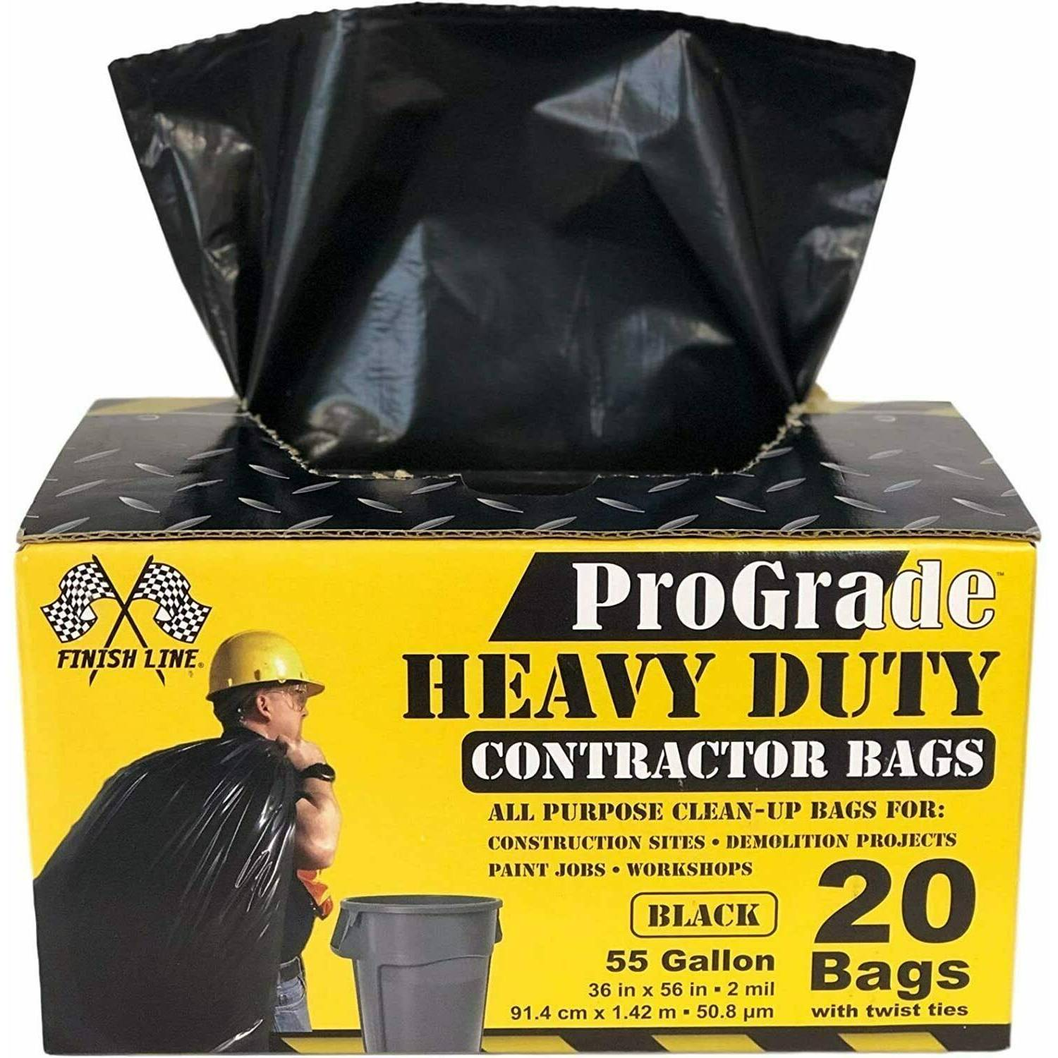 ProGrade Contractor Trash Bags 55 Gallon Heavy Duty (20 Bags w/ Ties)