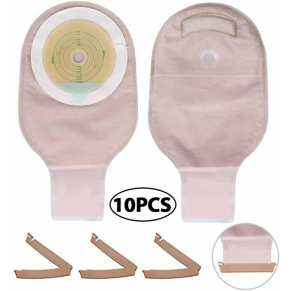 Colostomy Bag Drainable Pouch & 3 Clamp Closure - 10 Pack