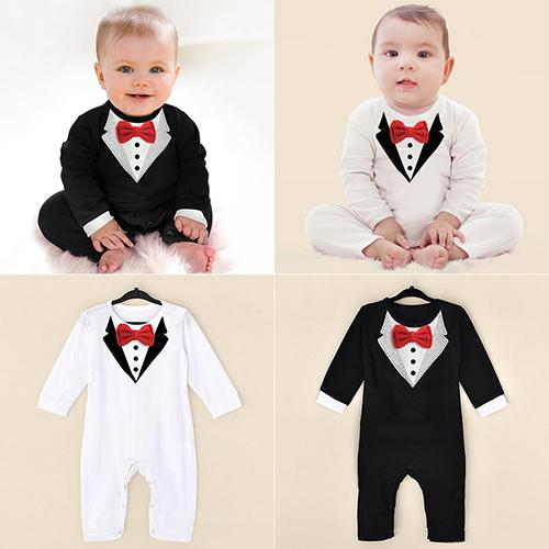 Baby Boy Fashion Long Sleeve Jumpsuits V Collar Pattern Bowknot Rompers - M&Y CARE LLC-Healthcare Store