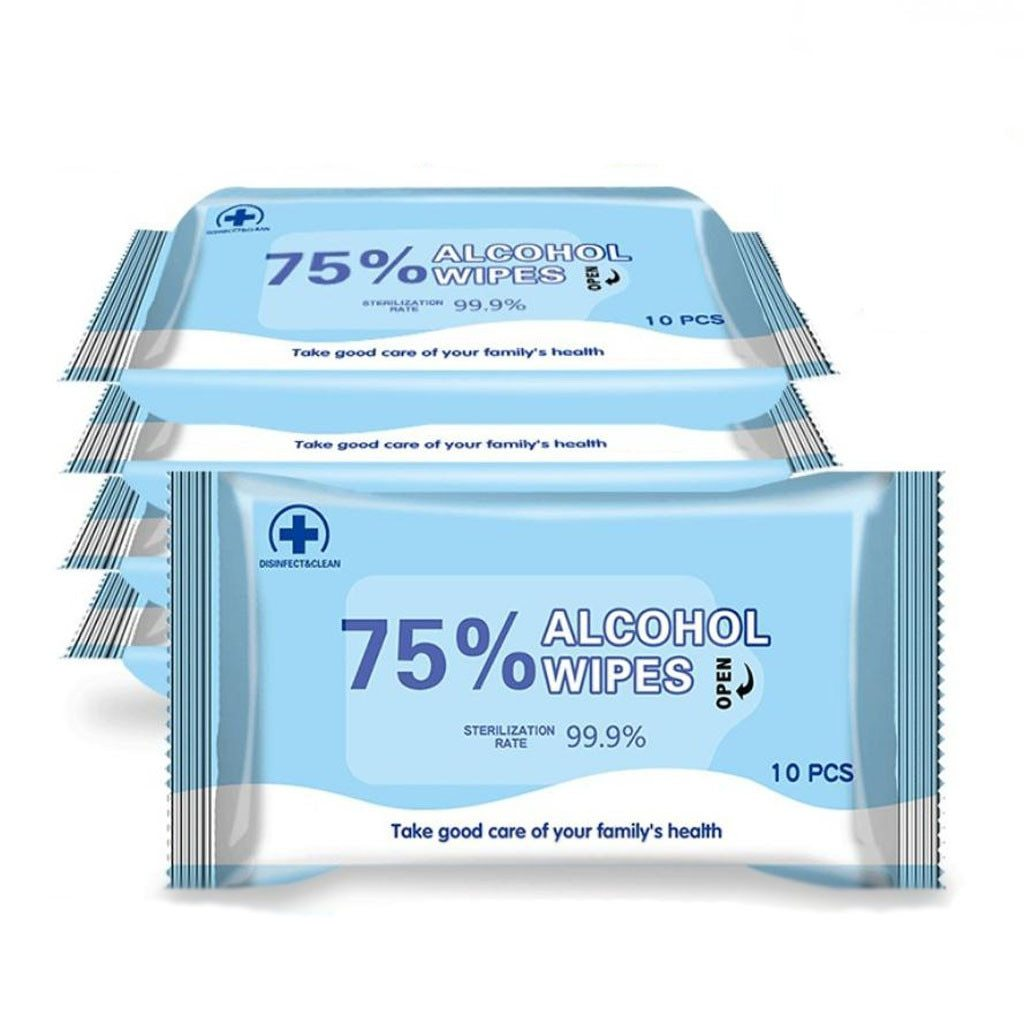 10-Pack XL Alcohol Sanitizing Wipes