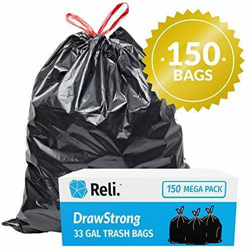 30-33 Gallon Trash Bags Drawstring Large 30 Gal Garbage Bags (150 Count)