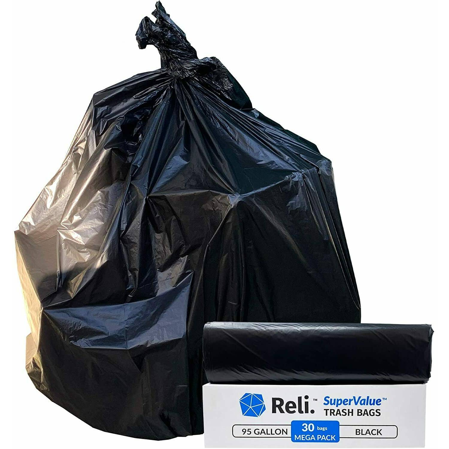 SuperValue 95 Gallon Trash Bags Heavy Duty Black Garbage Bags (30 Count)