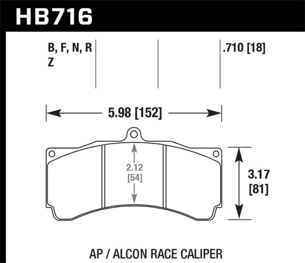 Hawk AP Racing/Alcon Universal DTC-70 Race Brake Pads