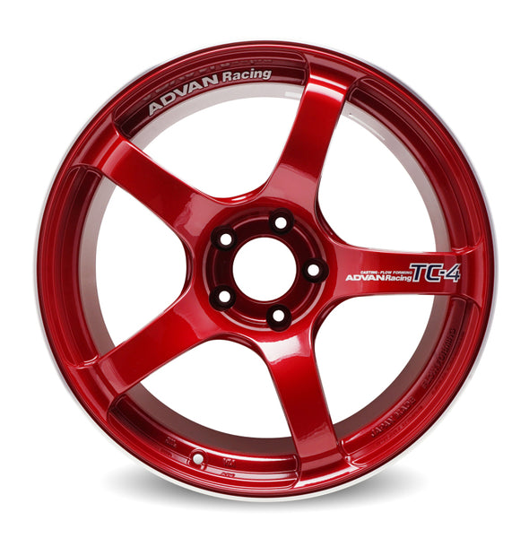 Advan TC4 18x11 +30 5-114.3 Racing Candy Red & Ring Wheel