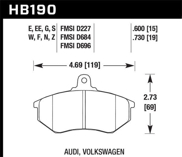 Hawk 80-87 Audi 5000 DTC-60 Compound Front Brake Pads