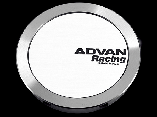 Advan 63mm Full Flat Centercap - White/Silver Alumite