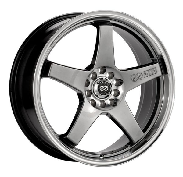 Enkei EV5 17x7 5x100/114.3 45mm Offset 72.6 Bolt Diameter Hyper Black w/ Machined Lip Wheel
