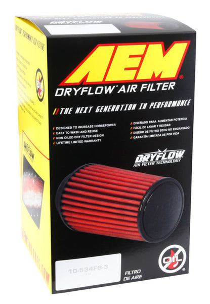 AEM DryFlow Air Filter 3-1/4in Flg / 6-1/16in B-OD / 5-1/4in T-OD / 7-1/8in H w/Hole (Special Order)