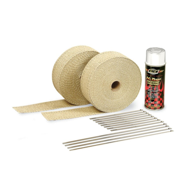 DEI Exhaust Wrap Kit - Tan Wrap and White HT Silicone Coating