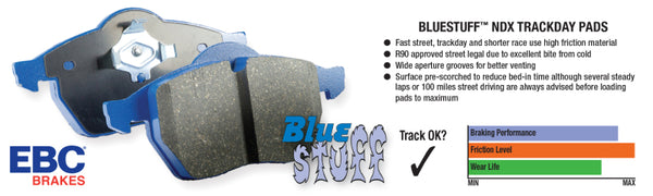 EBC 11+ Mclaren MP4-12C 3.8 Twin Turbo Bluestuff Rear Brake Pads
