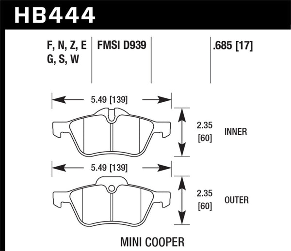 Hawk 02-06 Mini Cooper / Cooper S 18mm HT-10 Race Front Brake Pads