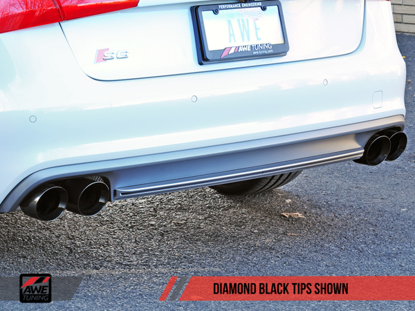 AWE Tuning Audi C7 / C7.5 S6 4.0T Touring Edition Exhaust - Diamond Black Tips