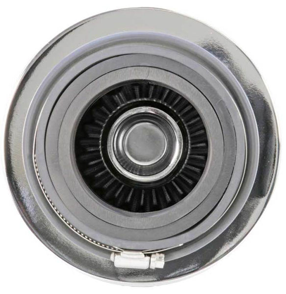 K&N Universal Filter Chrome Round Tapered White - 4in Flange ID x 1.125in Flange Length x 5.5in H