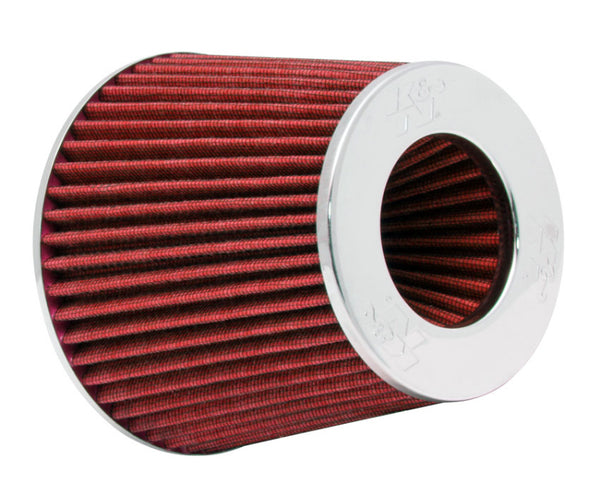 K&N Universal Air Filter Chrome Round Tapered Red - 4in Flange ID x 1.125in Flange Length x 5.5in H