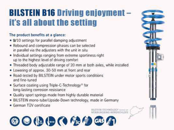 Bilstein B16 (PSS10) Front & Rear Performance Sus System 2015 VW Golf w/ 55mm Outside Dia Strut