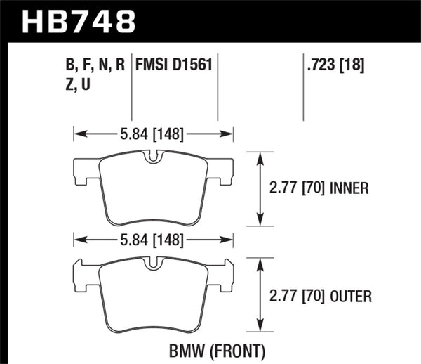Hawk DTC-80 13-16 BMW 328i Front Race Brake Pads