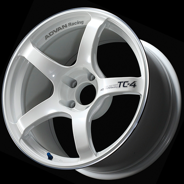 Advan TC4 18x10.5 +15 5-114.3 Racing White Metallic & Ring Wheel