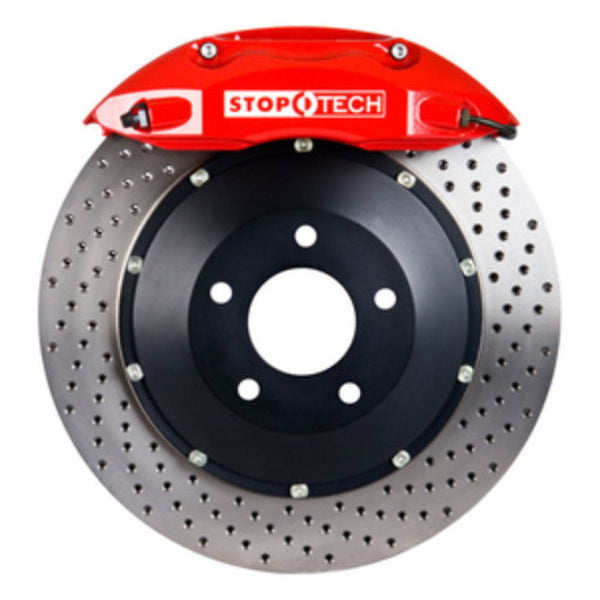 StopTech BBK 07-09 BMW 335i/335d Rear 345x28 Drilled 2pc Rotors ST-40 Red Calipers