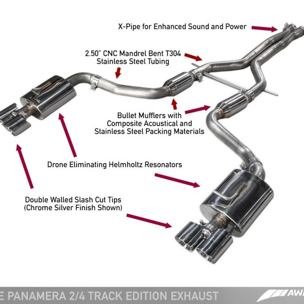 AWE Tuning Panamera 2/4 Track Edition Exhaust (2014+) - w/Chrome Silver Tips
