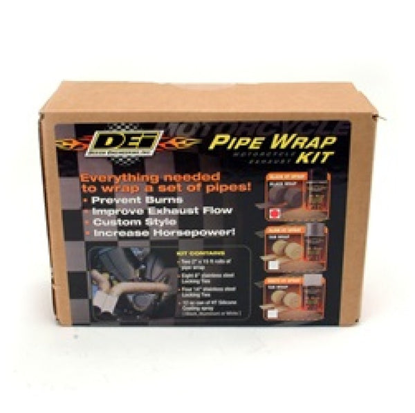 DEI Powersport Motorcycle Exhaust Wrap Kit - Black wrap w/ Black HT Silicone Coating