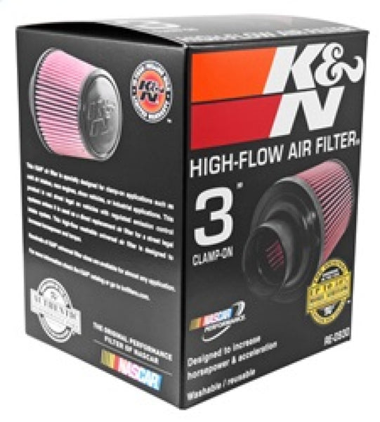 K&N Universal Rubber Filter - Round Tapered 6in Base OD x 3in Flange ID x 6in H