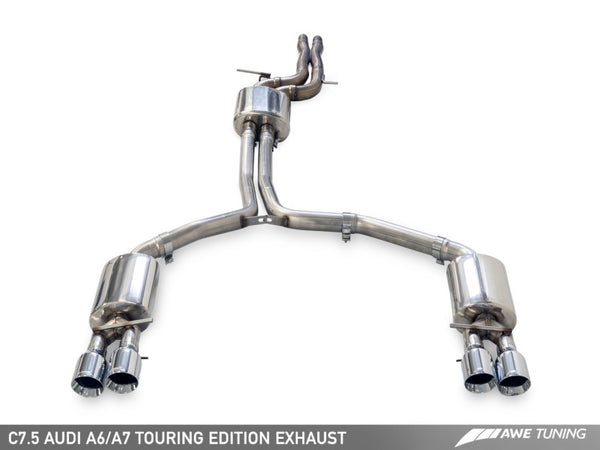 AWE Tuning Audi C7.5 A7 3.0T Touring Edition Exhaust - Quad Outlet Chrome Silver Tips