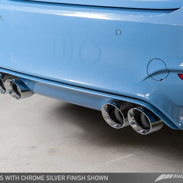 AWE Tuning BMW F8X M3/M4 Non Resonated SwitchPath Exhaust - Chrome Silver Tips (90mm)