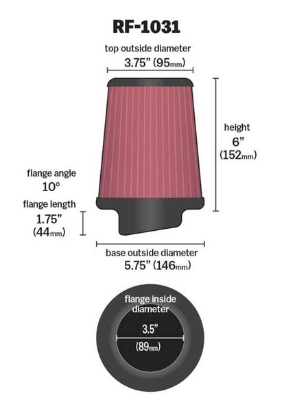 K&N Round Tapered Universal Air Filter 3.5in Flange ID / 5.75in Base OD / 3.75in Top OD / 6in H