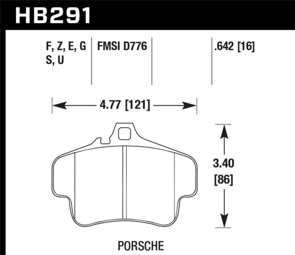 Hawk 99-00 Porsche 911 Carrera Carrera 2 Series 4 Piston Caliper HPS 5.0 Front Brake Pads