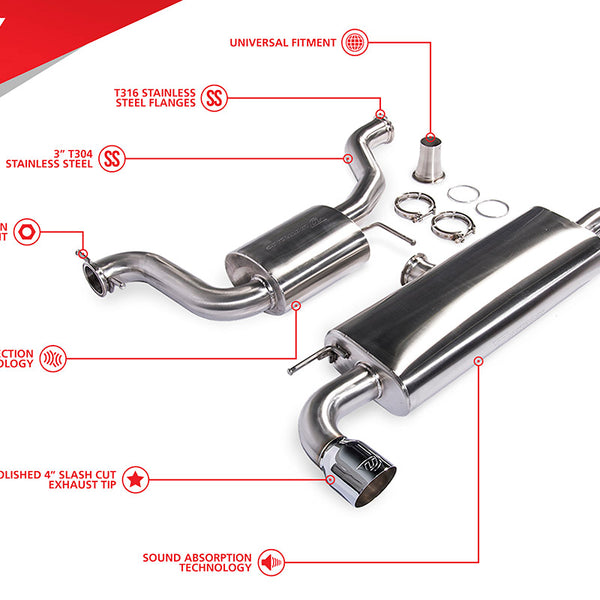 Unitronic MK6 GTI 3-inch Cat-Back Exhaust System