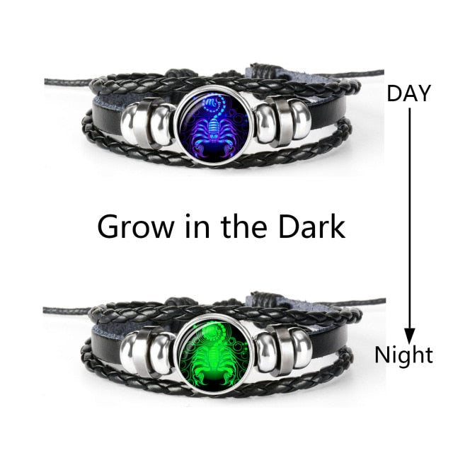 Zodiac Sign Black Braided Leather Bracelet