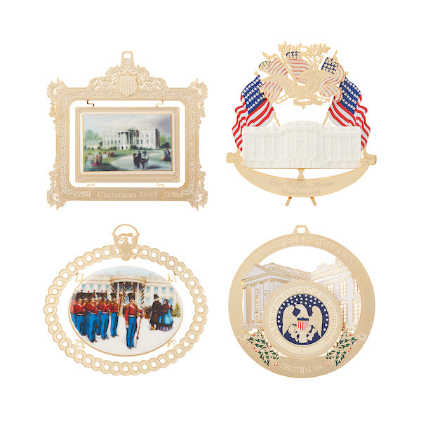 1994 to 1997 White House Christmas Ornaments, Sold as a Set of Four