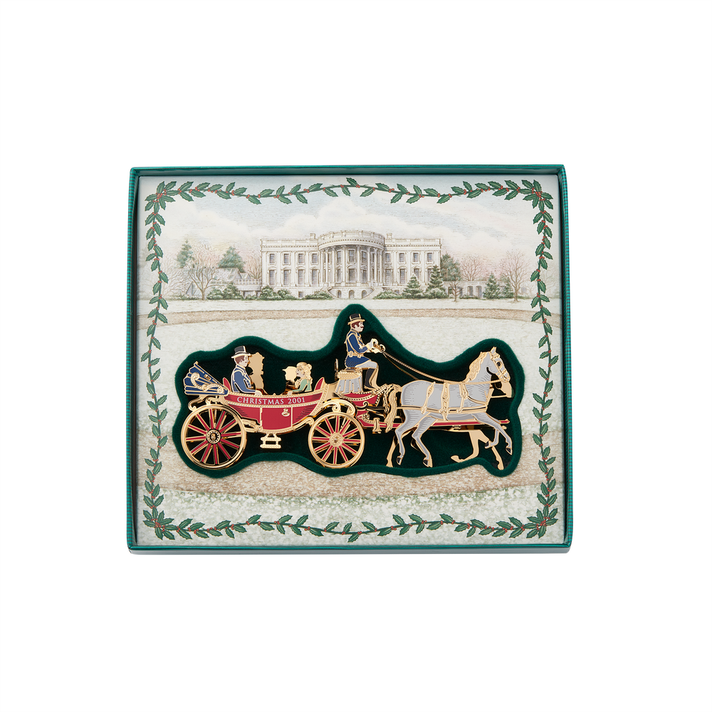 2001 White House Christmas Ornament, A First Family's Carriage Ride-In Box
