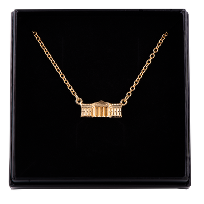 Gold Vermeil White House Charm Necklace-In Box