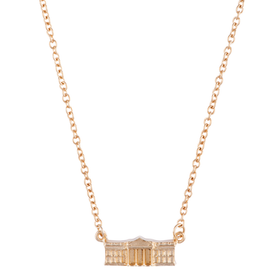 Gold Vermeil White House Charm Necklace-Front