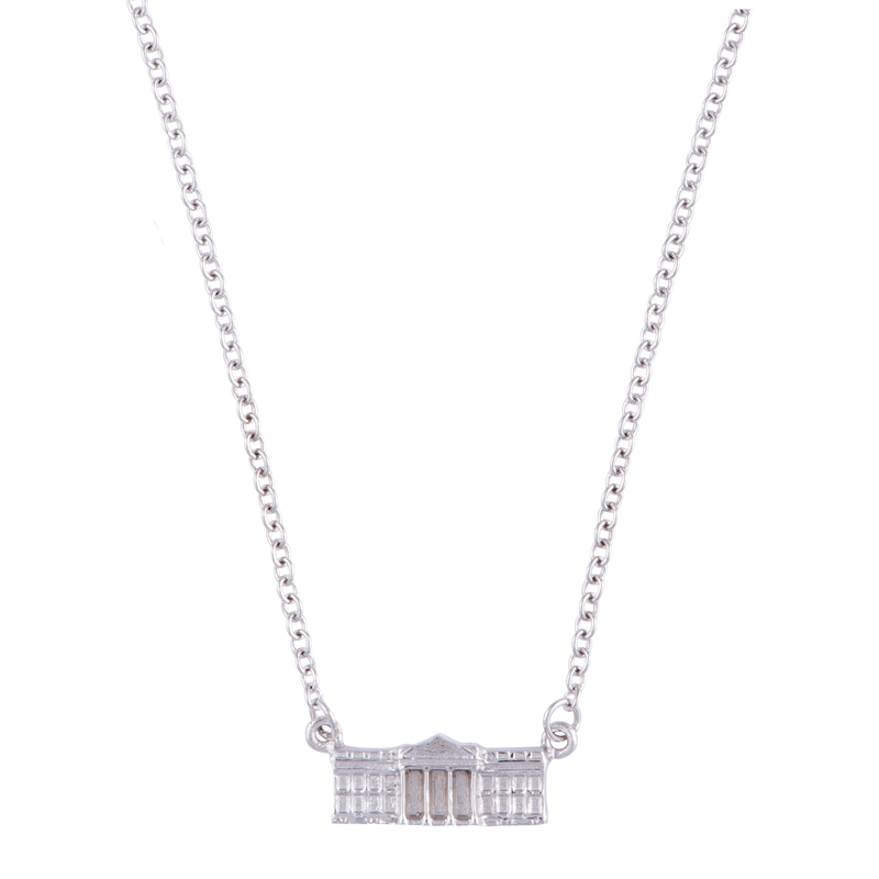 Sterling Silver White House Charm Necklace-Front