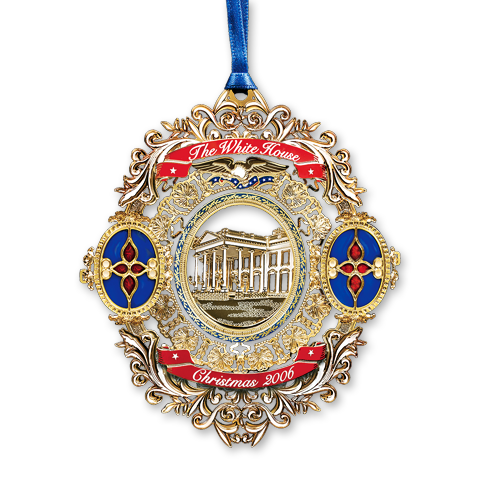 2006 White House Christmas Ornament, Tiffany Glass in the White House-Front